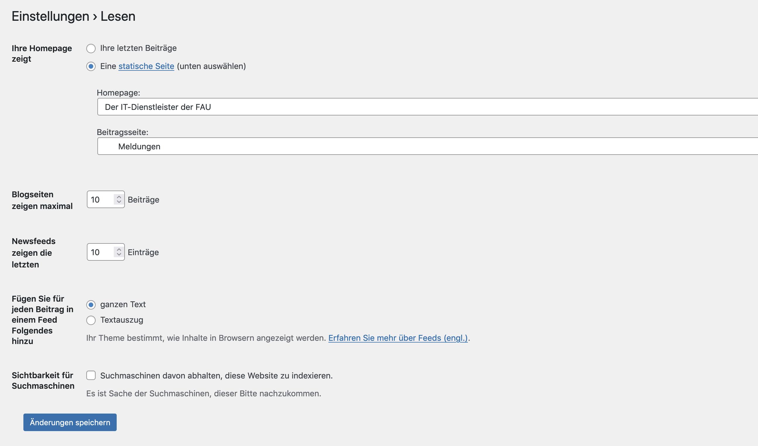 In WordPress die Sichtbarkeit für Suchmaschinen einstellen